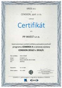 CERTIFIKÁT CENKROS 4 Cenekon 2016/I a 2016/II