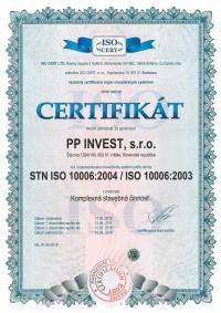 CERTIFIKÁT STN ISO 10006:2004 / ISO 10006:2003